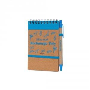 Notes i długopis eco z nadrukiem Złote myśli Kochanego Taty - kolor niebieski