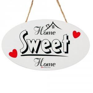 Drewniana tabliczka owal wzbogacona lakierem UV z napisem Home Sweet Home