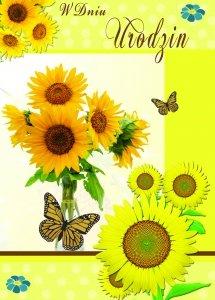 Kartka W dniu Urodzin ( słoneczniki)