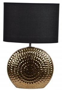 LAMPA CERAMICZNA ZŁOTA Z CZARNYM ABAŻUREM OKRĄGŁA 30x15x45,5 cm