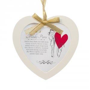 Ramka szklana serce zawieszka z napisem Młodej parze