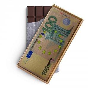 Czekolada mleczna w złotym opakowaniu 100 euro