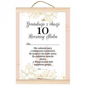 Dyplom gratulacje z okazji 10 rocznicy ślubu.  Dla cudownej pary, z najlepszymi życzeniami, by szczęście nie znało miary...