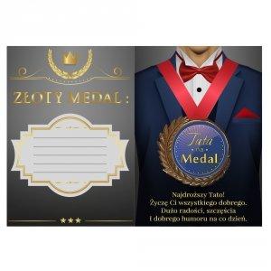 Tata na Medal - kartka z medalem i wierszykiem