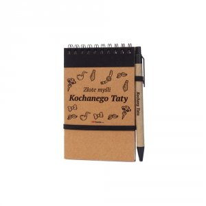 Notes i długopis eco z nadrukiem Złote myśli Kochanego Taty - kolor czarny