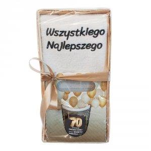 Zestaw prezentowy na 70 urodziny 70 od dzisiaj zmiana kodu zamiast szóstki siódemka z przodu