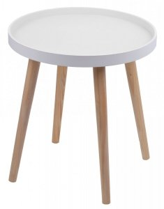 STOLIK DUŻY BIAŁY 48x48x48,5 CM.Stolik drewniany z białym blatem na czterech nogach.Produkt w stylu skandynawskim do montaż