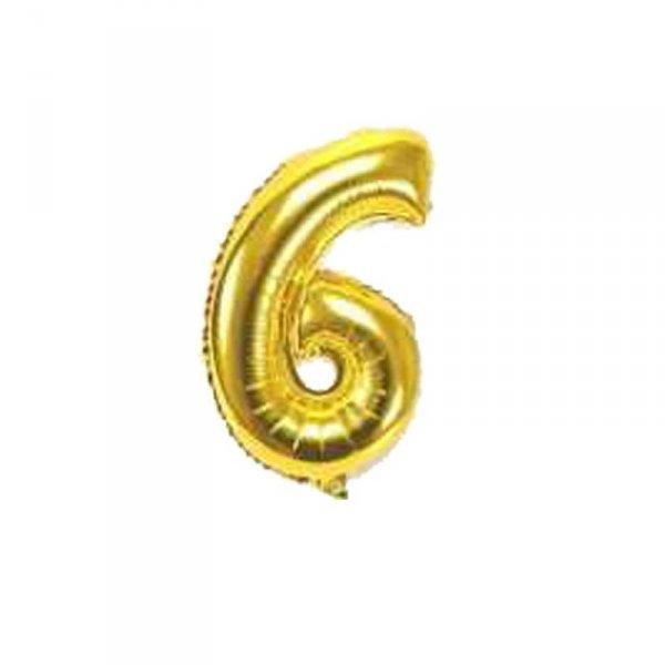 Cyfra dmuchana nr 6, złoty, 100 cm