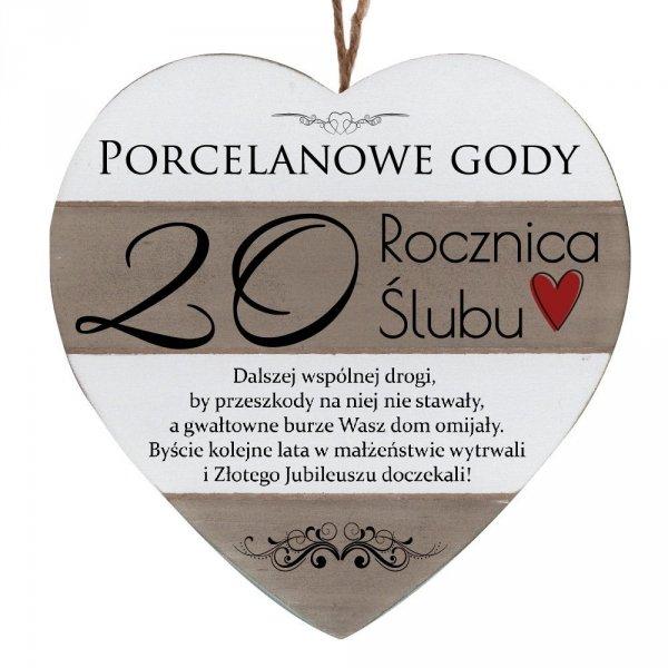 """Drewniana tabliczka w kształcie serca z napisem """" 20 rocznica ślubu..."""""""
