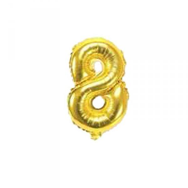Cyfra dmuchana nr 8, złoty, 40 cm