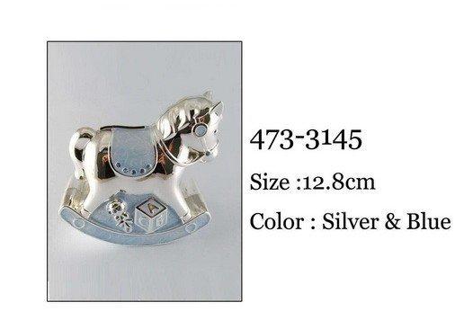 Skarbonka - KONIK. Kolor srebrno- niebieski. 12.8 cm