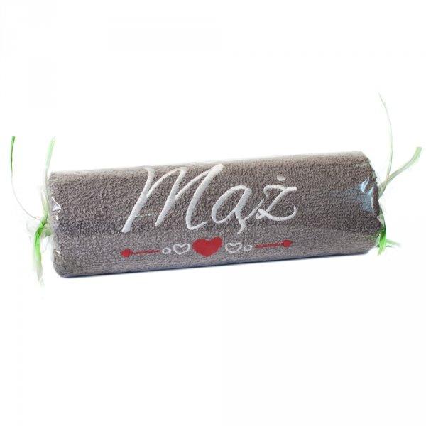 """Ręcznik szary cukierek z haftem """"MĄŻ"""""""