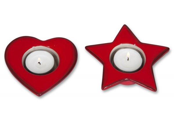 Świecznik świąteczny , 2 wzory serce lub gwiazdka