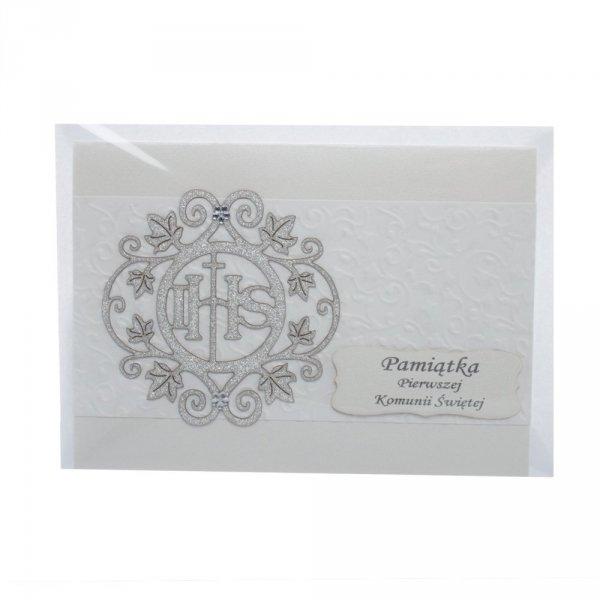 Kartka Pamiątka 1 Komunii Świętej ze srebrnym zdobieniem