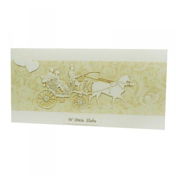 Kartka W Dniu Ślubu,młoda para karoca
