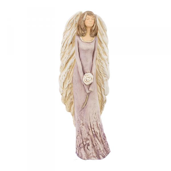 Figura gipsowa 'Belladonna z różą'. Kolor fioletowy. Średnica 10.5 cm wys. 43 cm.