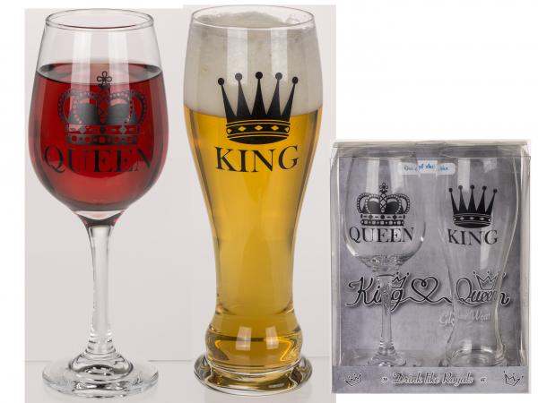 ZESTAW KIELISZKÓW KING&QUEEN